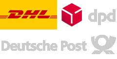Die Versandanbieter von Werkzeug1x1 mit DHL, dpd und der Deutschen Post
